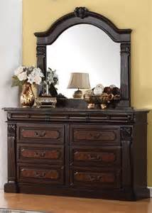 acme furniture empire marble top dresser in cherry