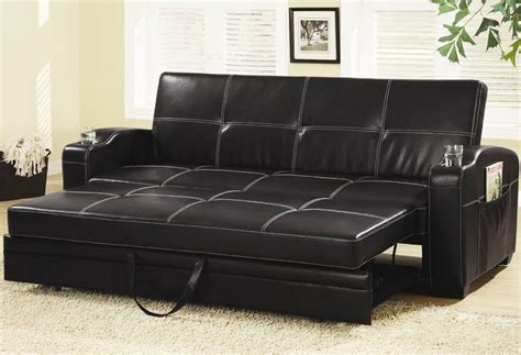Black Leather Sofa Bed With White Stitches Homefurniture Org Sofa Bed Leather Black