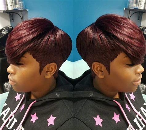 short hairstyle using a pony tail type piece quick weave pinteres