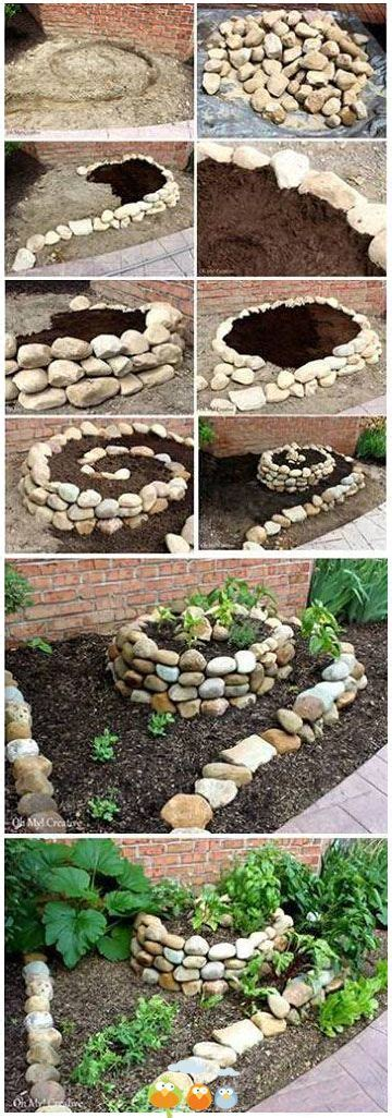 How To Build A Rock Garden Bed Spiral Raised Rock Garden To Try Gardening