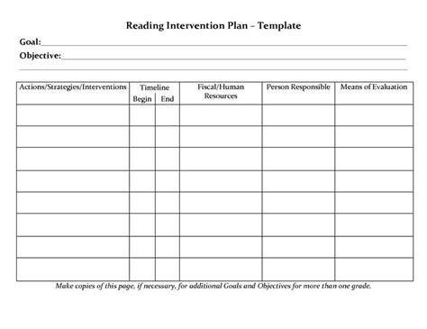intervention plan template student planner templates reading intervention plan