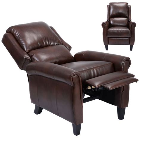 leather accent chairs for living room convenience boutique leather recliner accent chair push back living room home furniture with leg