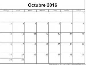 Calendario De Octubre Octubre 2016 Calendarios Para Imprimir