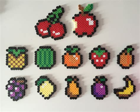perler bead food fruit magnets perler bead