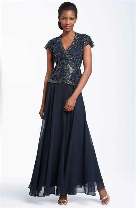 j kara beaded gown j kara beaded mock two chiffon gown in blue navy