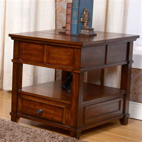 Cherry Wood End Tables Living Room Lynch Living Room Lift Top End Side Snack Table Storage Drawers Wood In Cherry Ebay