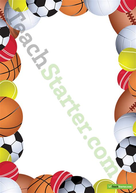 sports page border word template teaching resource
