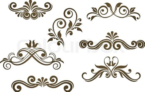 Pattern Vector Motifs | vintage floral motifs for design isolated on white stock