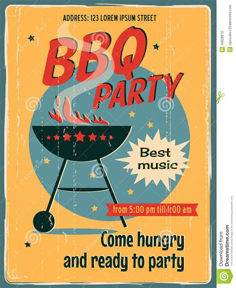 vintage bbq grill party stock vector image