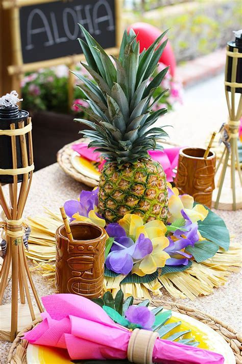 DIY Pineapple Centerpieces   Luau   Luau party decorations