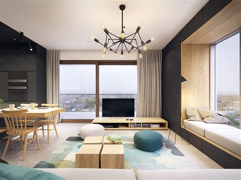 black white  wood apartment  turquoise touch
