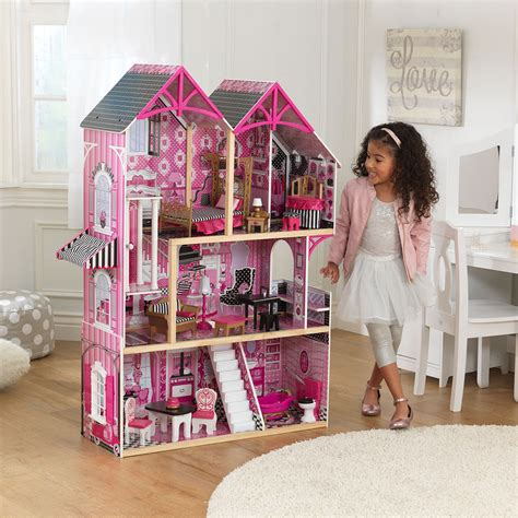 wooden childrens dolls house kidkraft bella wooden kids dolls house furniture fits barbie dollhouse 163 114 95