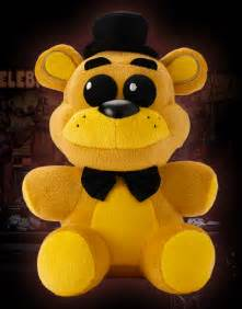 The golden freddy plush is bright yellow with black eyes black bow