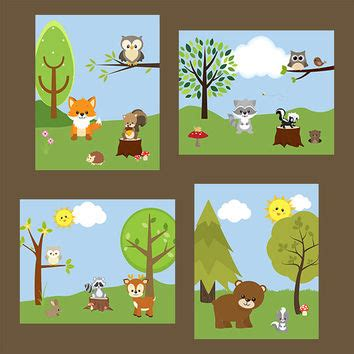Woodland Creatures Nursery Decor Baby Boy Nursery Print Children Wall From Artbynataera On