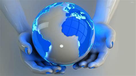 wallpaper of earth globe holding the globe wallpaper digital art wallpapers 23464