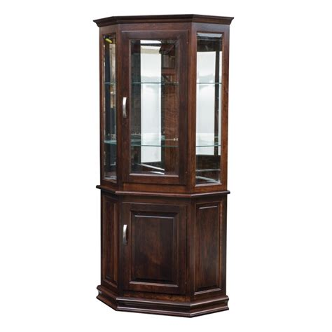 Cherry Wood Dining Room Sets Corner Deluxe Curio With Enclosed Base Amish Deluxe
