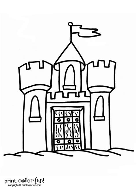 castle drawing template castle with flag coloring page print color