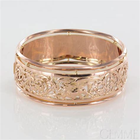 Bracelet ruban ancien ouvrant or rose. epoque 1900.