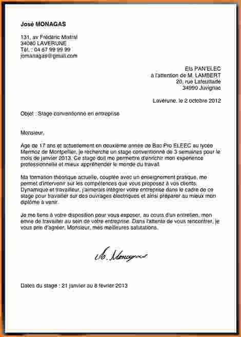 Lettre De Motivation Ecole Ingenieur Post Bac 9 Lettre De Motivation Pour Demande De Stage Exemple Lettres