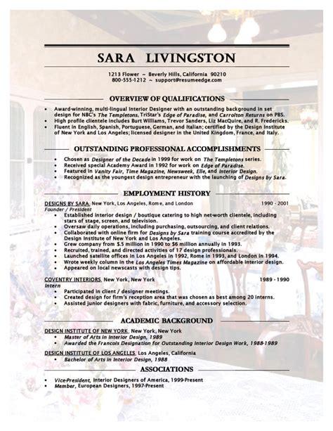interior design resume format interior designer resume
