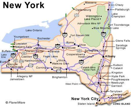 printable map new york state new york travel guide planetware