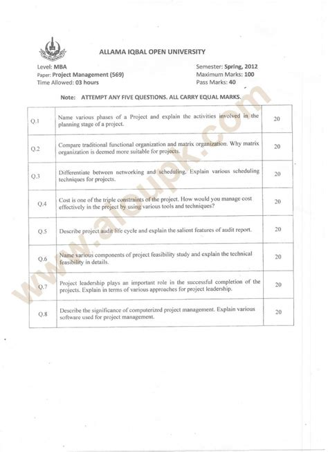 Aiou Mba Program by Project Management Code 569 Program Mba Aiou Paper