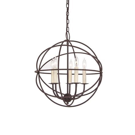Wrought Iron Globe Chandelier Shop Jvi Designs 18 In 5 Light Rust Wrought Iron Globe