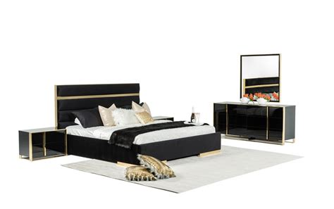 nova domus montblanc modern black gold bedroom set