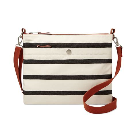 Ready Fossil Zipped Stripes Blue Original fossil keyper top zip crossbody in blue navy stripe lyst