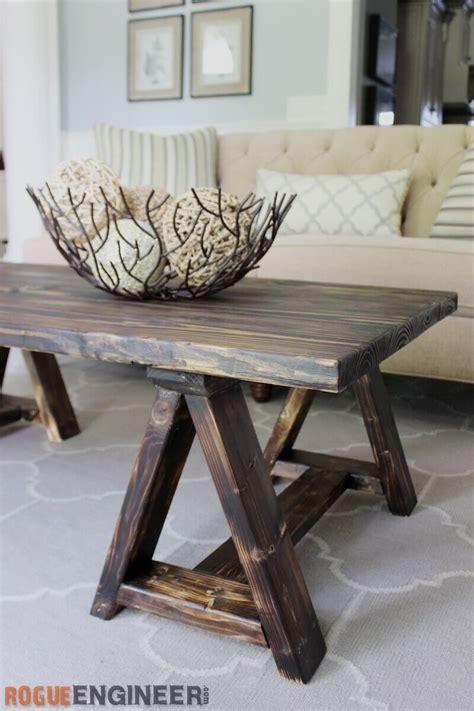 2x4 coffee table plans sawhorse coffee table free diy plans rogue engineer