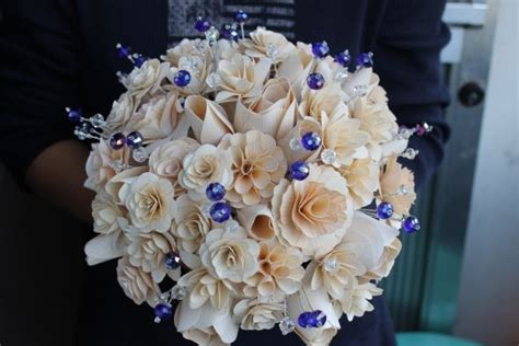 wooden flowers wedding bouquets mixing real and wood flowers what do you think