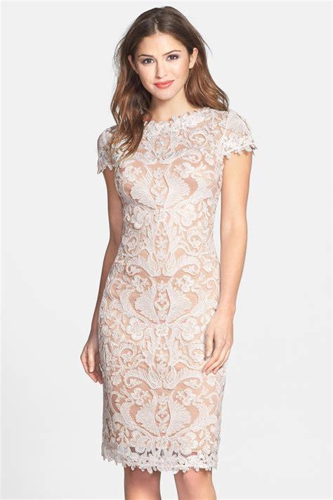 Supplier Baju Ivory Dress N2 tadashi shoji illusion yoke lace sheath dress