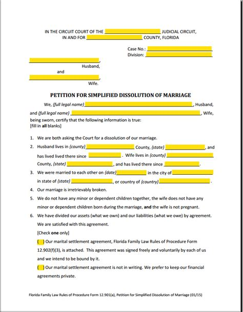 Florida Marriage And Divorce Records Divorce Papers For Florida