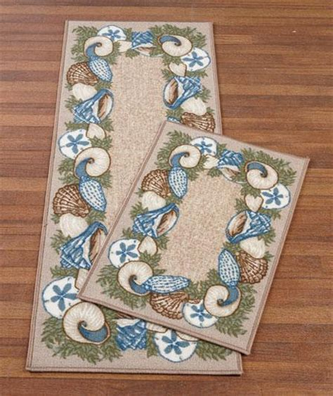 Themed Rugs by New 2 Pc Seaside Seashell Tropical Themed Rug Set