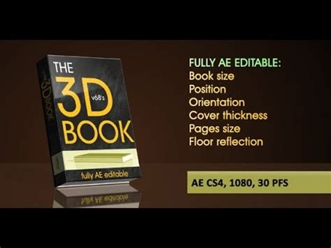 My After Effects Template 3d Book On Reflecting Floor With Flipping Pages Youtube After Effects Page Turn Template Free