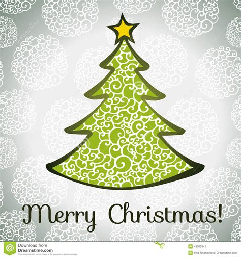 merry greeting card template merry greeting card with tree stock