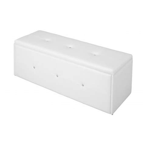 White Leather Storage Ottoman Bench Davis Ottoman Storage Bench In White Faux Leather With