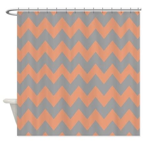 peach colored shower curtain peach and gray chevron shower curtain by chevroncitystripes