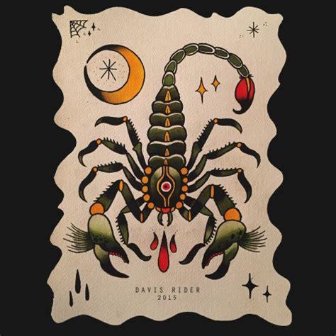 traditional scorpion  eye print   moon tattoo