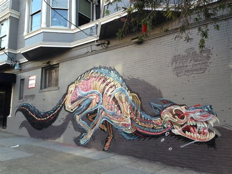 anatomical murals  bisected animals  street artist