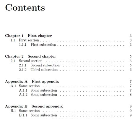 content section custom table of contents with appendices how to get