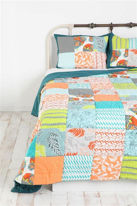 Orange Patchwork Quilt - orange blue and green patchwork quilt in my bedroom