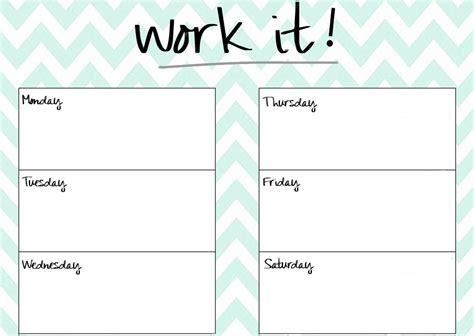 Blank Workout Calendar Template