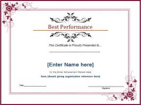 Best Certificate Templates by Best Performance Award Certificate Template Document