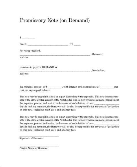 demand promissory note template sle promissory note 7 documents in pdf word