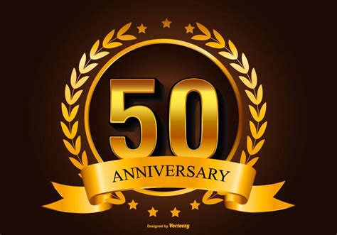 50 years anniversary golden golden 50th anniversary illustration download free