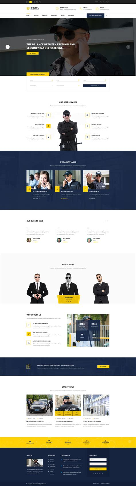 themeforest psd bristol security guard psd template by tonatheme