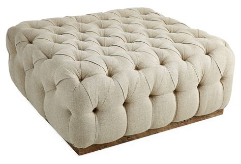 buttoned ottoman tufted cocktail ottoman natural from one kings lane