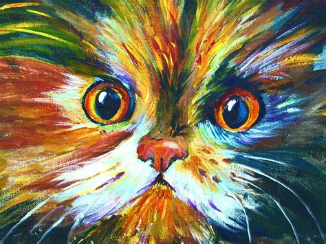 how to paint a colorful calico cat pawgustart 60 minute