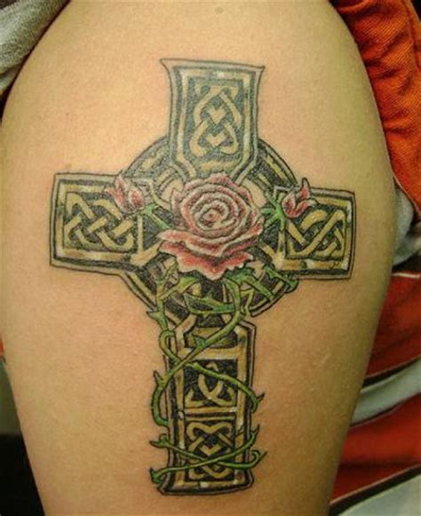 rose and shamrock tattoo lovely celtic cross with on shoulder